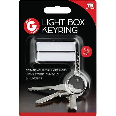 Message Keychain - Lightbox Keychain Light Up Keyring White Cinema Box Cinematic Message DIY Gift