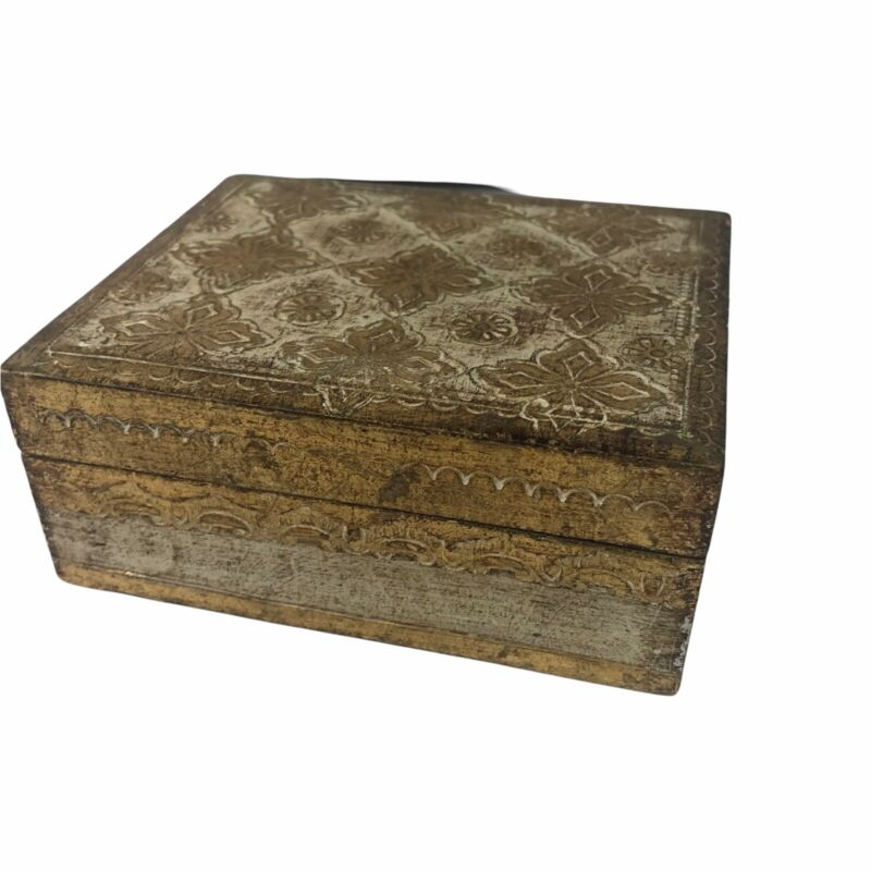 Vintage Decorative Wooden Playing Card Deck Holder Present Gift Box