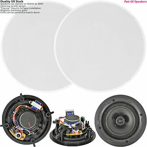 """QUALITY Pair Of 6.5"""" 100W 2 Way Low Profile Ceiling Speaker -100V 8Ohm-Wall Slim"""