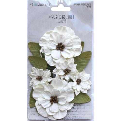 49 & Market MAJESTIC BOUQUET Paper Flowers Scrapbook Embellishment IVORY 34154