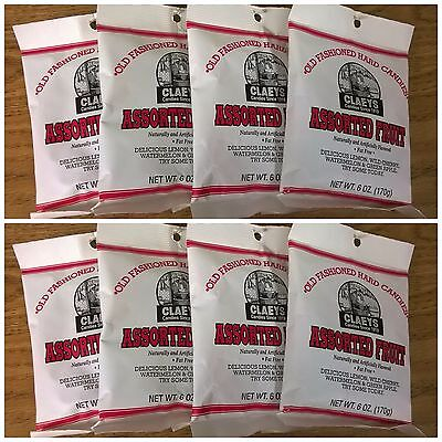 Claeys Assorted Fruit Old Fashioned Hard Candy 8 PACK 6oz Bags FREE SHIPPING