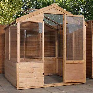 4x6 Wooden Evesham Tongue & Groove Greenhouse Styrene Glazing One Door 4ft 6ft