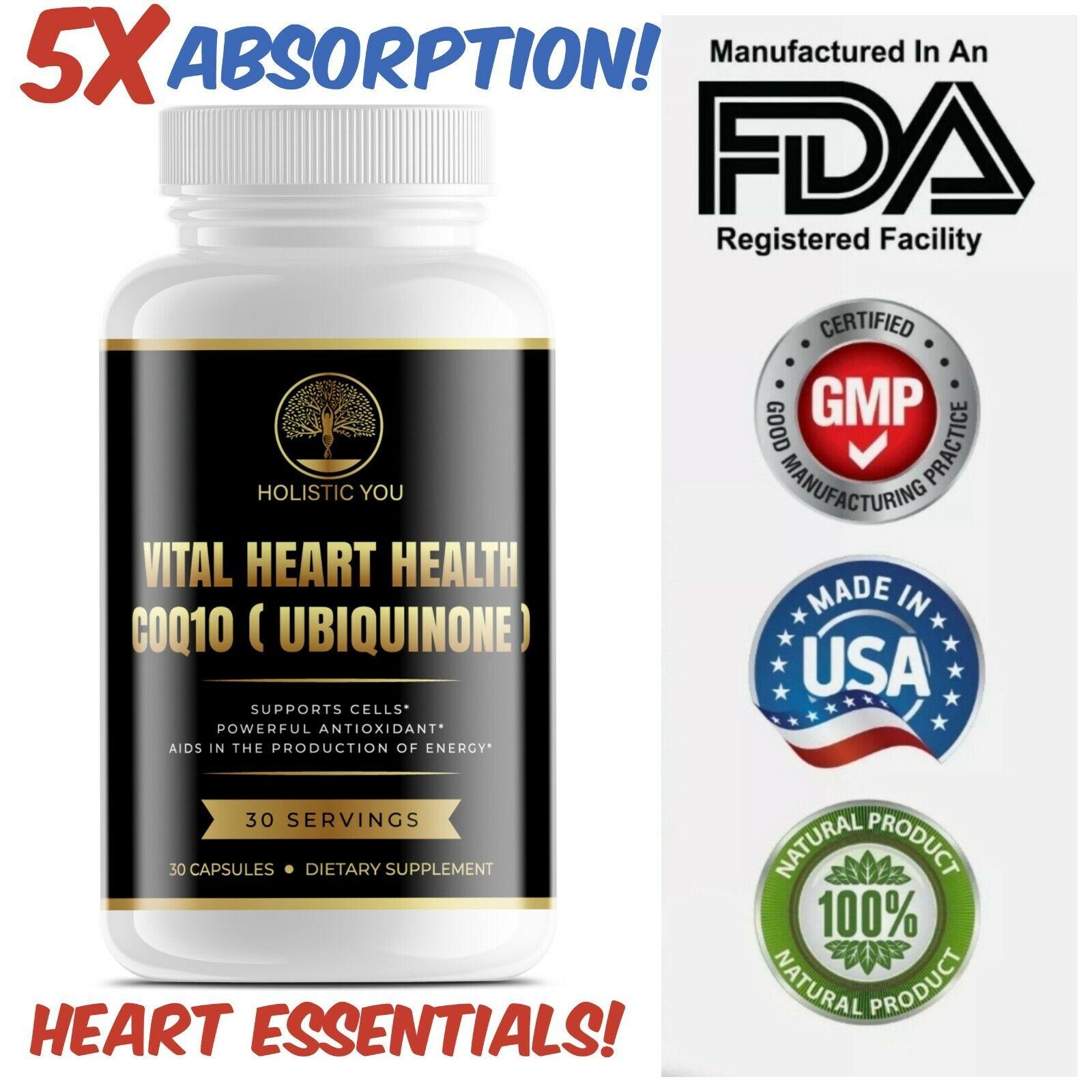 Vital Heart Health Ultra CoQ10 200mg Supplement 5x Better Absorption Antioxidant