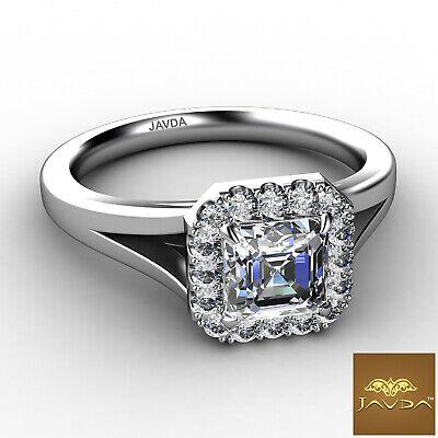 Asscher Diamond Engagement Halo Pre-Set Ring GIA F VS1 18k Yellow Gold 0.92Ct 5