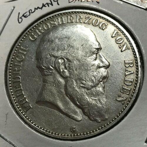 1903-G  GERMANY BADEN SILVER 5 MARK CROWN COIN SCARCE