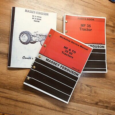Set Massey Ferguson Mf 35 Gas Tractor Service Operator Parts Manual Catalog Book
