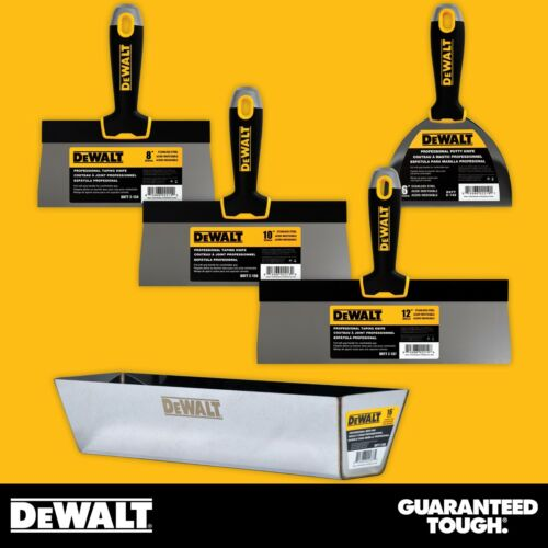 "DEWALT Taping Knife Set Stainless Steel 8-10-12"" w/ 16"" Mud Pan + 6"" Putty Knife"