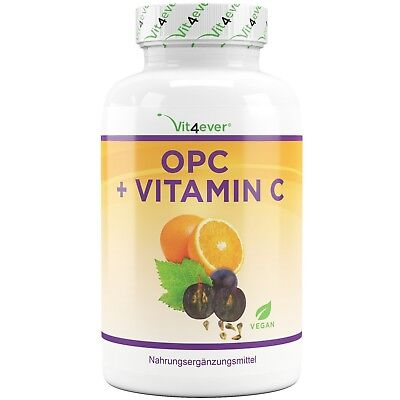 OPC + Vitamin C = 180 Kapseln hochdosiert mit 1200 mg Traubenkernextrakt Vegan
