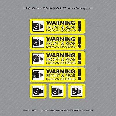 7 x Dash Cam Recording Stickers CCTV In Car Video Camera Decal Sticker - SKU3101