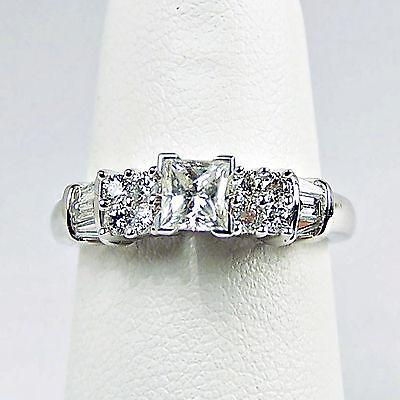 14k White Gold Si CLEAN PRINCESS CUT DIAMOND RING Size 7
