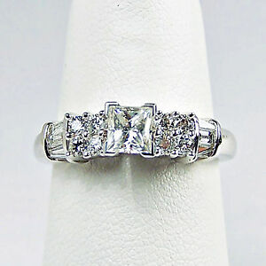 14k White Gold SI Clean Princess Cut Diamond Ring Size 7 ...