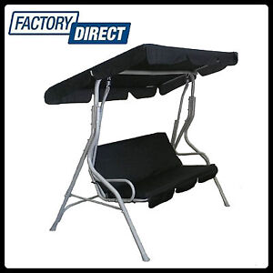 NEW-BLACK-3-SEAT-SWING-CHAIR-GARDEN-BENCH-OUTDOOR-HANGING-CANOPY-ROOF-PATIO-BED