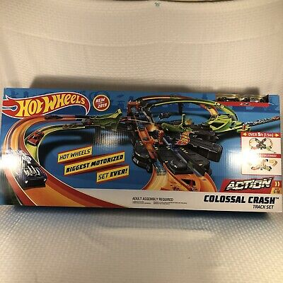 Hot Wheels Biggest Motorized Set Ever! Colossal Crash Figure 8 Track New In Box