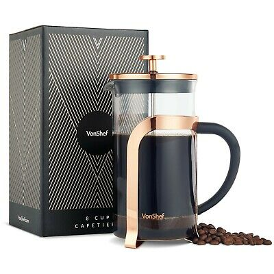 VonShef Steep Glass Heat Resistant French Press Cafetiere Coffee Maker