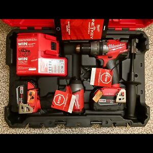 Milwaukee One-Key Impact driver / hammer drill & 5 amp batteries