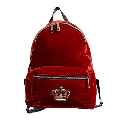 Versace 'n' Royalty Men's DFZ6735-DVEL Red Velour Backpack