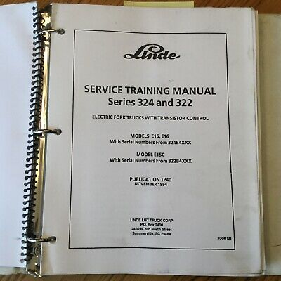 Linde E15 E16 E15c 322 324 Service Shop Repair Manual Electric Fork Lift Truck