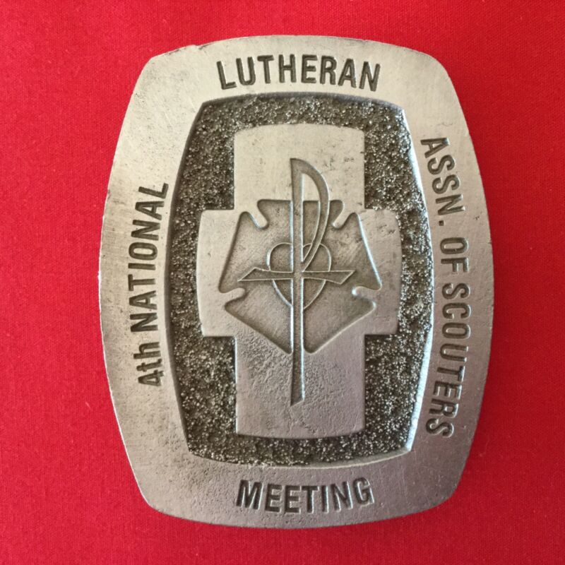 Boy Scout 4th National Lutheran Assn. Of Scouters Meeting Belt Buckle Valiant