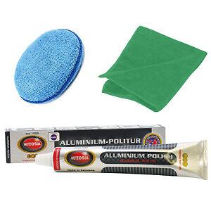Solvol Autosol ALUMINIUM Metal Cleaner Polish 75ml + Microfibre Pad & Cloth Set