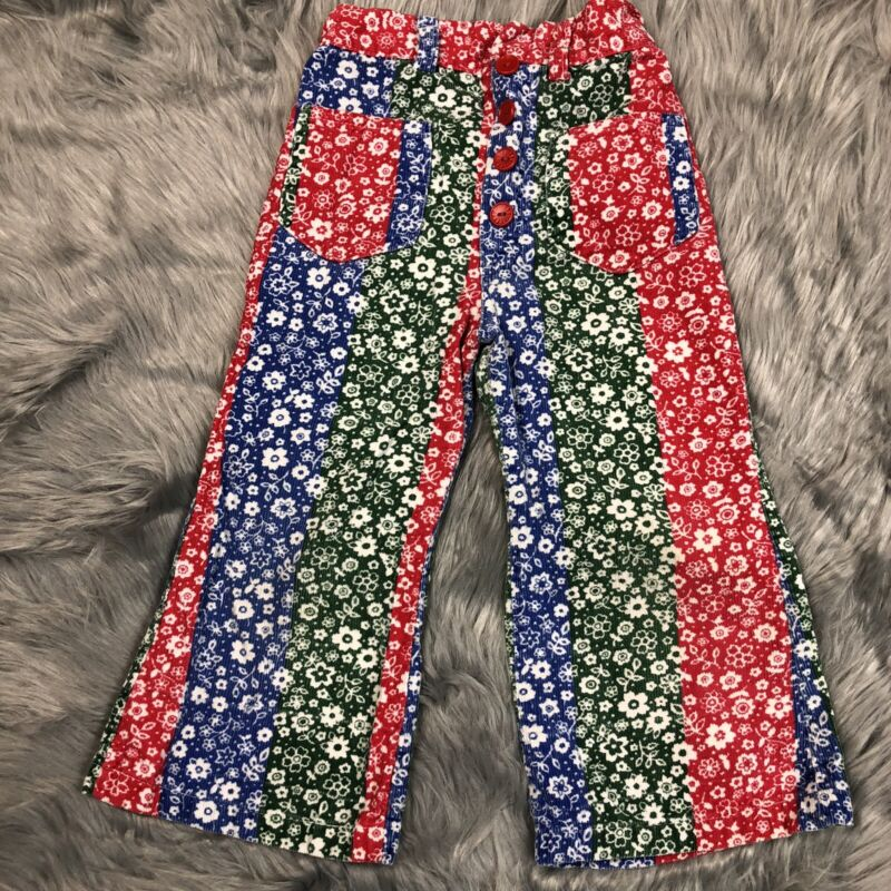 Vintage Healthtex Corduroy Toddler Red Green Blue Floral Pants