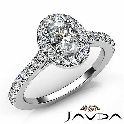 Halo French Pave Set Oval Diamond Engagement Anniversary Ring GIA E VS1 1.22 Ct