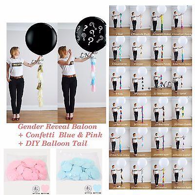 Hearts Confetti Gender Reveal POP Black Balloon Confetti Pink+Blue Diy Kit Baby (Diy Gender Reveal)