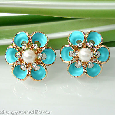 Blue Enamel 18K GP Blooming Flower Pearl Crystal Ear-Nail Earrings BH2066 on Rummage