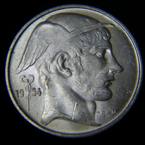 1954 Belgium 20 Francs Silver French Legend  - BU