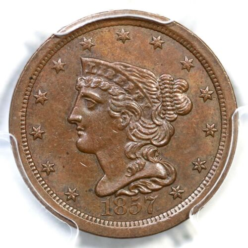 1857 C-1 PCGS AU 58 Braided Hair Half Cent Coin 1/2c