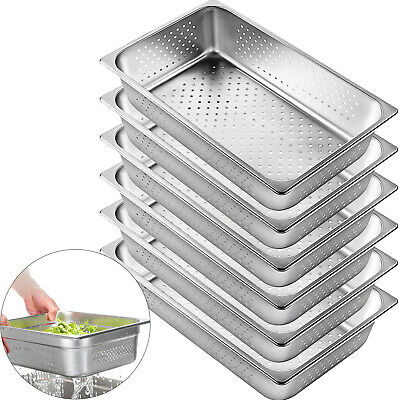 Perforated 6 Pack Full Size 6 Deep Stainless Steel Steam Table Pan Hotel Buffet