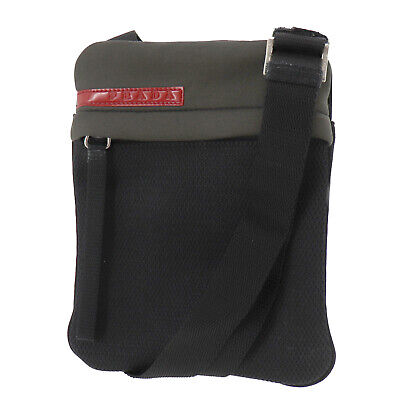 PRADA Sports Shoulder Bag Black Mesh Jersey Italy Vintage Authentic #AC24 O