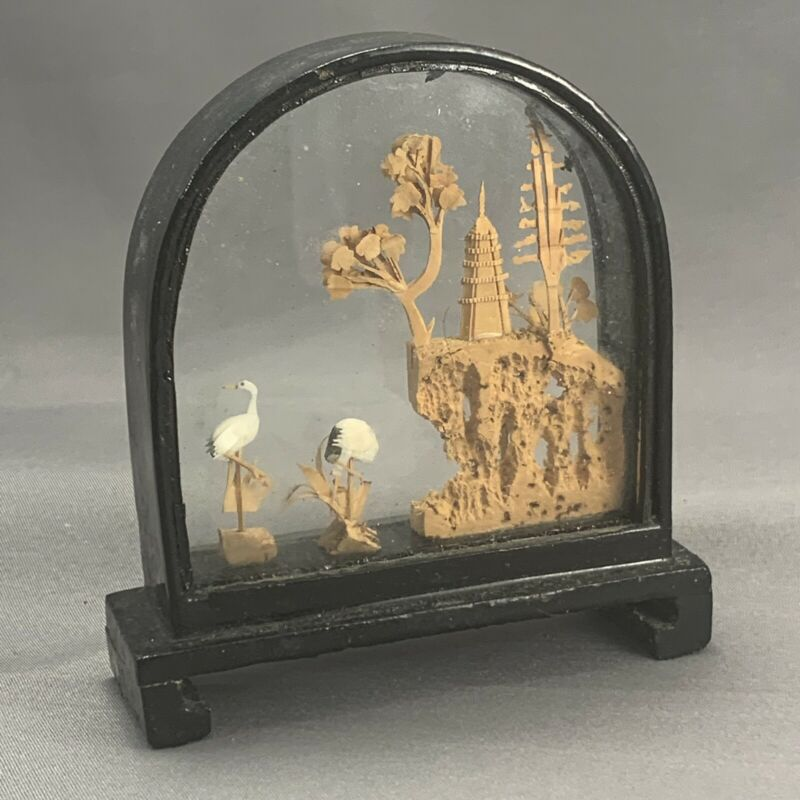 4 in Black Lacquer Glass Diorama Carved Cork Trees Crane Scene Chinese San You?