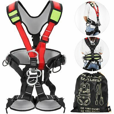 Safety Harness Full Body Climbing Rock Gear Rappelling Tree Tower Climber Kit