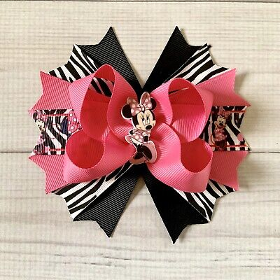 Handmade Hot Pink ,Zebra And Black Minnie Mouse Boutique Stacked Hair Bow](Pink And Black Bow)