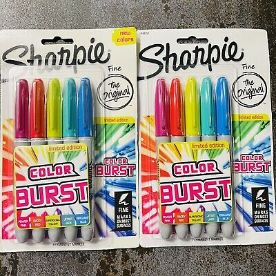 Lot Of 2 -sharpie Color Burst Permanent Marker Fine Point Assorted Colors -new