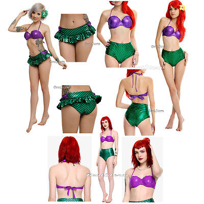 Little Mermaid Ariel Cosplay Swim Suit Shell Top OR High Waist OR Skirt Bottoms