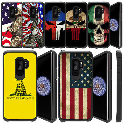 For Samsung Galaxy S8 Active, Slim Combat Shock Bumber Case EAGLE USA FLAGS