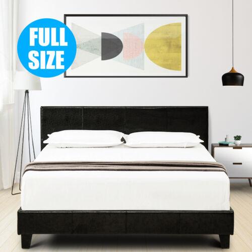 Full Size Faux Leather Platform Bed Frame & Slats Upholstere