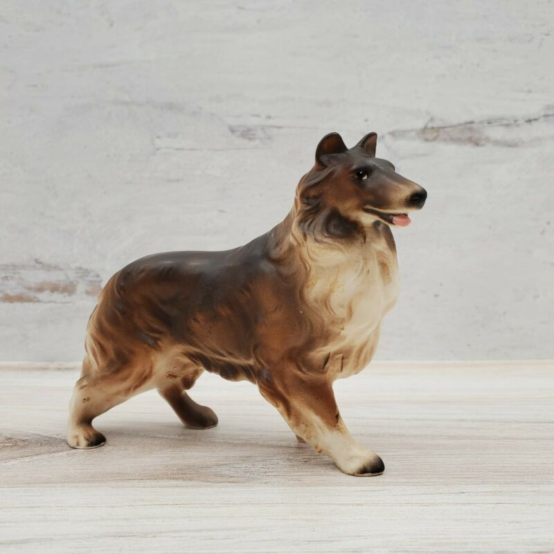 Vintage Japan Standing Ceramic Painted Collie Dog Figurine Lassie