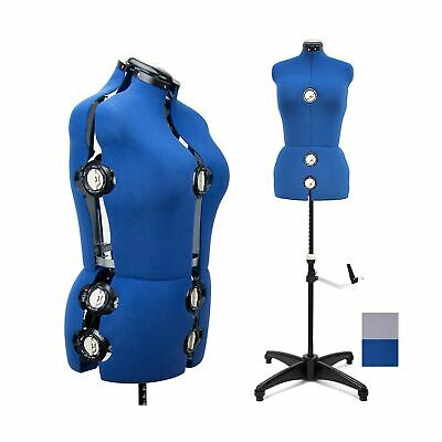 Blue Female Fabric Adjustable Mannequin Dress Form Sewing Body Torso Medium