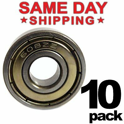 608-zz Ball Bearing 8x22x7 Dual Shielded Metal Chrome Skateboard 608z 10 Qty