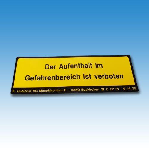 """""""Der Aufenthalt im Gefahrenbereich ist verboten"""" Aufkleber f Golchert Frontlader Foto 1"""