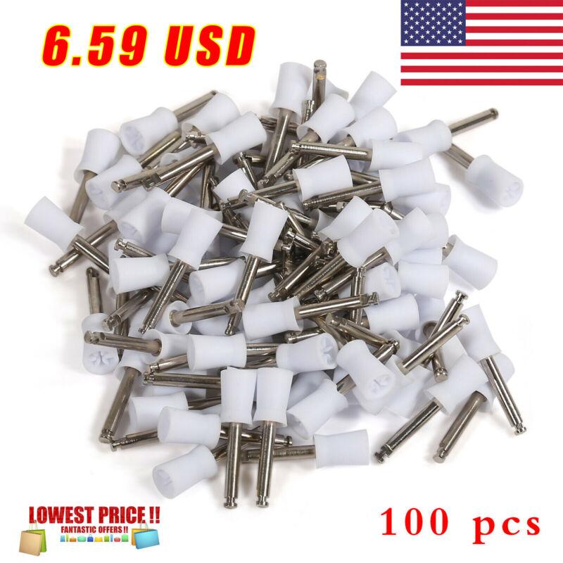 100 Pcs Dental Rubber Prophy Tooth Teeth Polish Polishing Cups Brush Latch Type