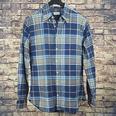 GANT RUGGER Mens Blue Plaid Button Down Shirt Sz XL The Hugger Indigo Oxford VTG