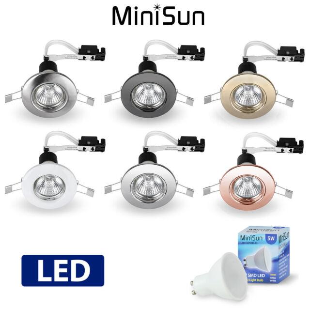 MiniSun Recessed 240V Mains LED GU10 Downlight Spotlight Ceiling Light Fitting
