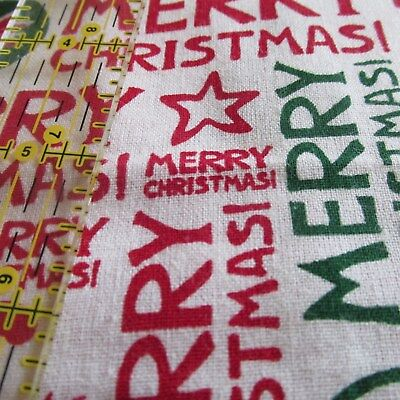 Merry Christmas cotton fabric white words script in red Springs BTHY ()