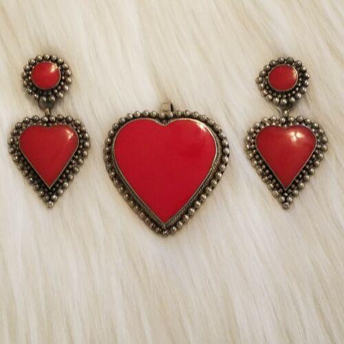 Vintage Lotus Heart Pendant Earrings Set Red Enamel Silver Tone Large Clip 5020