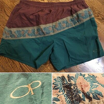 Vtg OP Ocean Pacific 80s Print Swim Trunk Size Large Green Burnt Red Floral