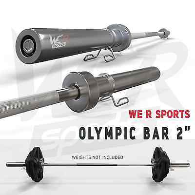"""6FT 2"""" Olympic Weight Lifting Barbell Bar With Spring Collar Gym Fitness Workout"""
