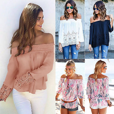 Womens Off Shoulder Long Sleeve Blouse Tops Casual Summer Ladies Beach T Shirt